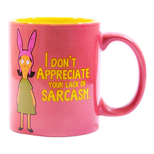 Bob's Burgers Coffee Mug - I don't Appreciate Your Lack Of Sarcasm - 12 Ounce Louise Belcher Printed Mug