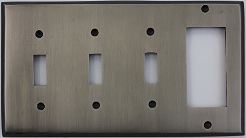Antique Pewter Four Gang Wall Plate - Three Toggle Light Switch Openings One GFI/Rocker (Antique Pewter 1 Light)
