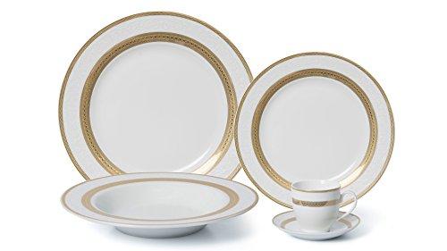 Royalty Porcelain 20-pc Dinner Set for 4, 24K Gold, Premium Bone China Porcelain (Rim Porcelain Dinnerware)