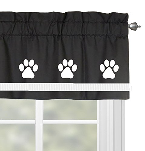(Paw Print Dog Window Valance / Treatment - In Your Choice of School Colors - Custom Made)