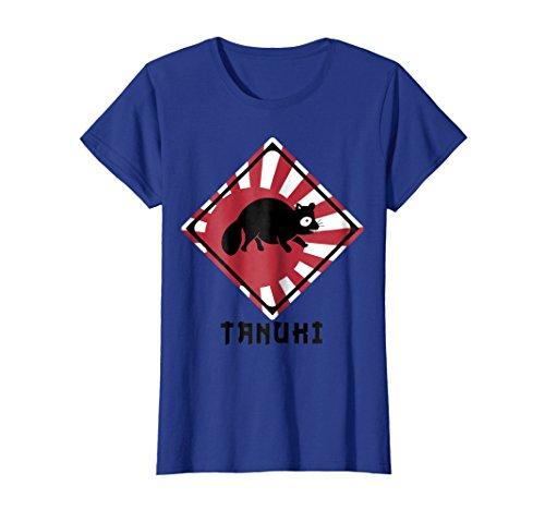 - Womens Raccoon Dog Tanuki Crossing Shirt (Japan Rising Sun Flag) Large Royal Blue