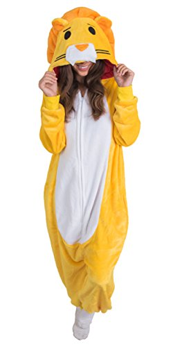 Adult Onesie Lion Animal Pajamas Comfortable Costume With Zipper and Pockets (Small)]()