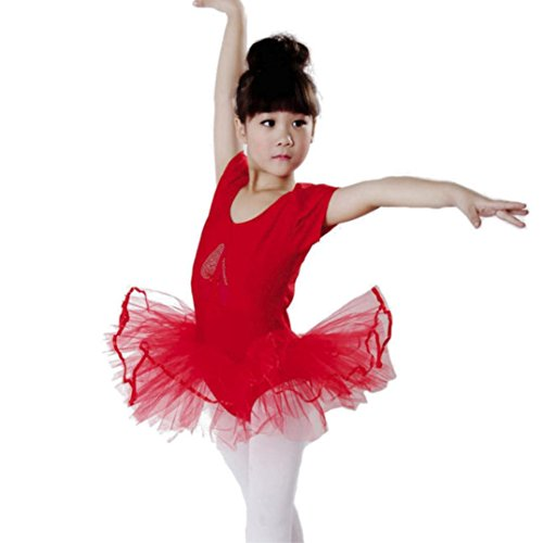 G-real Toddler Baby Girl Solid Ballet Gauze Leotards Dancewear Short Sleeve Tulle Dance Dress for 2-6T (Hot Pink, 24M)