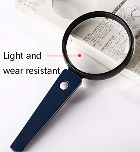 Handheld Portable Magnifying Glass with LED Light, 3X HD Optical Lens Magnifying Glass, for Reading Newspapers, Magazine Books, Textiles and Antiques (Edition : 65m) by LGLFDJ (Image #7)