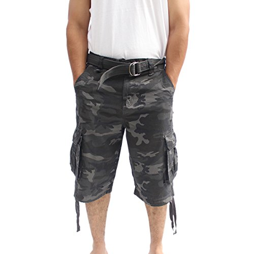 - La Gate Mens Big and Tall Belted up to size 50 Cargo Short (38, Black Camo)