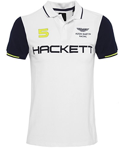Hackett Men's Slim Fit Aston Martin Racing Wings Polo Shirt White XL