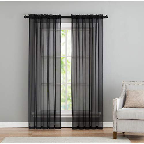 VCNY Home Infinity Rod Pocket Sheer Window Curtains Panel Pair, 50x84, ()