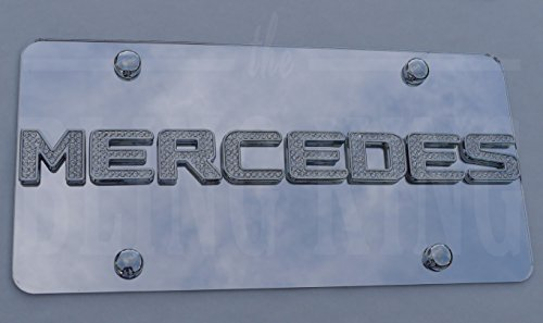 Mercedes Iced Out Chrome Swarovski Crystal Badge License Plate Marque Tag with Chrome Screw Caps -  Bling King