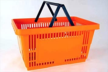 Charmant Plastic Shopping Baskets W/ Handles   Set Of 12   Color: Orange   Eco