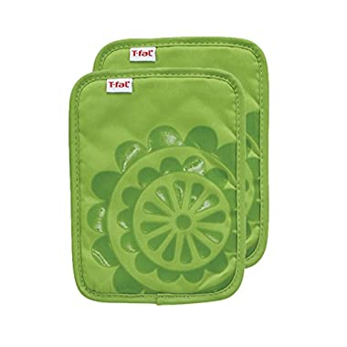 T-fal Textiles 2 Pack Medallion Design 100% Cotton Silicone Pot Holder, Green,2 Pack