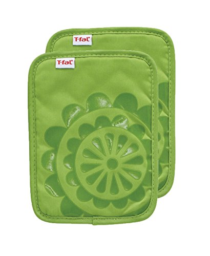 (T-fal Textiles 97161 2-Pack Medallion Design 100-Percent Cotton Silicone Pot Holder, Green )