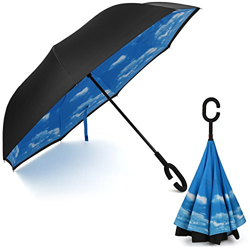 Rainlax Inverted Umbrella Double Layer Windproof Anti UV Protection Umbrellas for Car Rain Outdoor with C-Shaped Handle(Sky Blue)