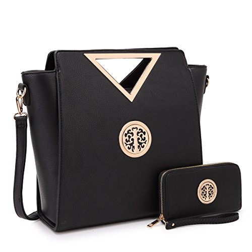 Dasein Women Designer Handbag Cut Out Triangle Top Handle Bag Large Tote Bag Fashion Work (Designer Black Handbag)