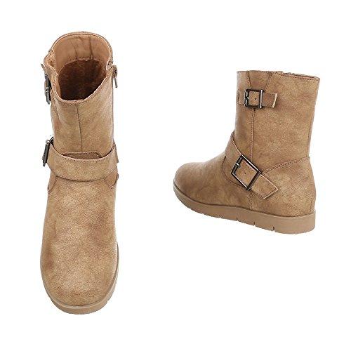 Damen Stiefeletten Leder-Optik | Chelsea Boots | Kurzschaft Stiefelette | Knöchelhohe Stiefel | Used Stiefelette | flache Sohle Stiefelette | Schuhcity24 Hellbraun