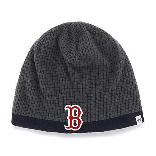 '47 Boston Red Sox Child/Kid's Grid Fleece Cuffless Beanie Hat - MLB, Youth Charcoal Knit Skull Cap (Winter Hat Red Sox)