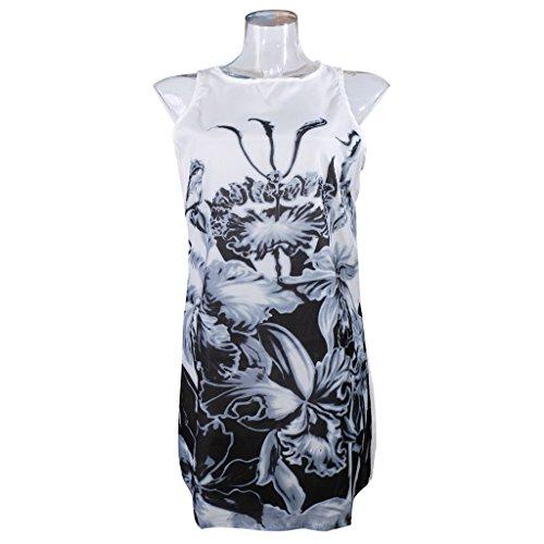 Ärmellos Kleid Trägerkleid druckKleid freizeitkleid minikleid strandkleid Frauen Sexy Art Und Weise Sleeveless Druck Schlank Um Den Hals Kleid