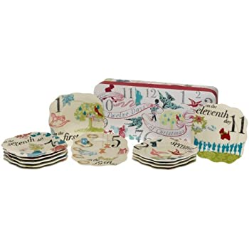 rosanna 12 days of christmas appetizer plates set of 12