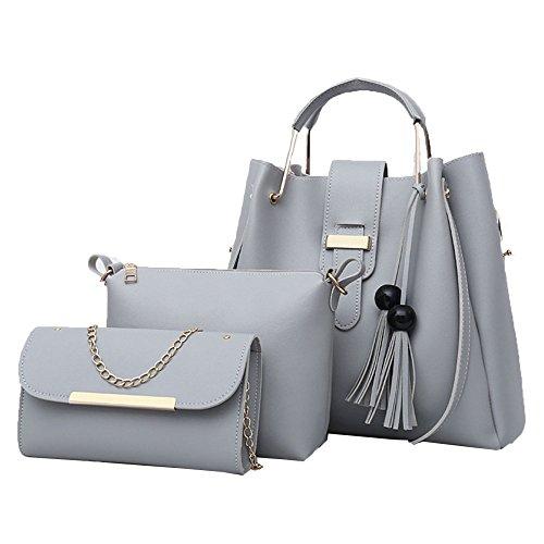 BAILIANG Femme Designer Sacs à Main Sac Fourre-tout Sac à Bandoulière Sac Seau Paquet De 3 Gray