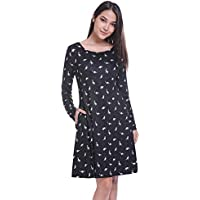 Fancyqube Mujer de manga larga para bolsillos laterales lindo Impreso Una línea Camisa Vestido