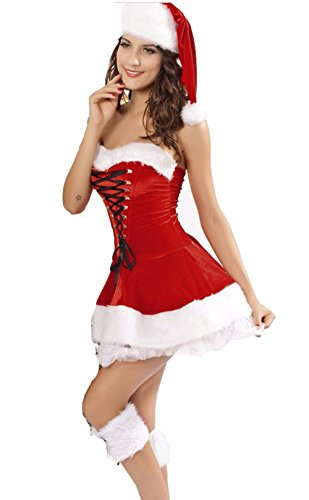 Jug&Po Womens 3 Piece Red Velvet Christmas Corset Set One-Size (Mrs Claus Costume Xl)