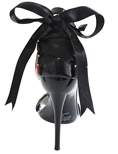 Weston-10 Ribbon Bow High Heel Stiletto Vestido De Novia Zapatos Negro