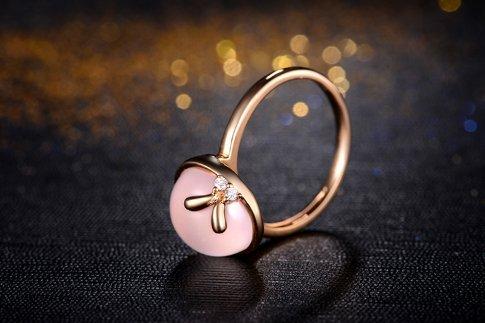 Gowe Au75018K Or Blanc 5.0CT Certifié véritable Quartz Rose avec diamant 0,02ct Bague Pierre précieuse Bijoux