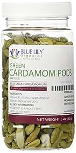 Blue Lily Organics Green Whole Cardamom Pods - 3 Oz Spice Jar - Certified Organic