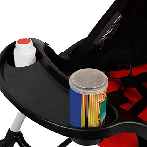 Single Child Stroller Tray -Stroller Snack Tray Contours Stroller Child Tray with Cup Holder Mounting Bracket Black