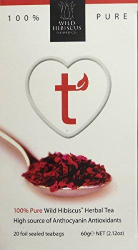 Wild Hibiscus Heart-Tee Hibiscus Herbal Tea 20 Tea Bags 60g