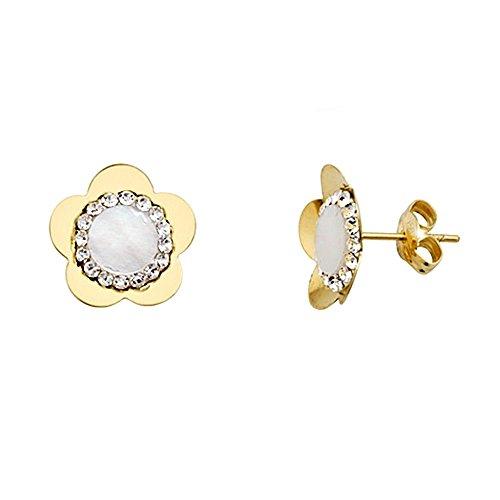 Boucled'oreille 18k fleur d'or perle 6mm. zircons [AA5268]