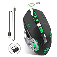 Specification: 1: Project Type: Ergonomic Optical Gaming Mouse 2. Interface: 2.4G USB receiver 3: Resolution: 800-1200-1600-2400dpi. 4: Buttons: 5 buttons and 1 round (middle button) 5: Maximum working range: 10 m 6: Charge cable length: 50cm...