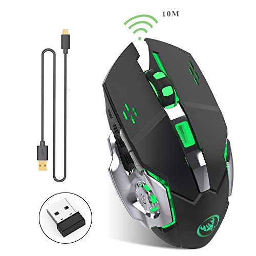 Rechargeable 2.4Ghz Wireless Gaming Mouse with USB Receiver,7 Colors Backlit for MacBook, Computer PC, Laptop (600Mah Lithium Battery) (Black)