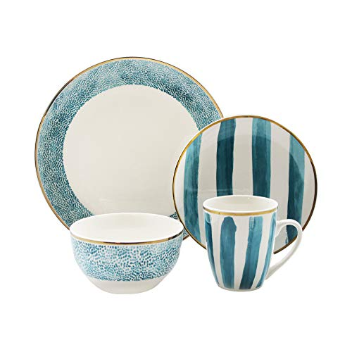 Elle Collection Delice Casual Round Dinnerware Set – 16-Piece Porcelain Party-4 Dinner & 4 Salad Plates, 4 Bowls, 4 Mugs…