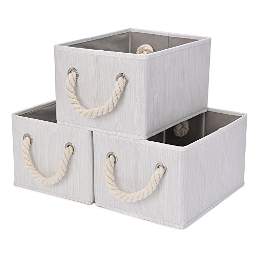 Under Construction Placemat - StorageWorks Storage Bins Closet with Cotton Rope Handles, Foldable Storage Basket, White, Bamboo Style, 3-Pack, Jumbo, 17.1(L) x12.0(W) x10.2(H) inches