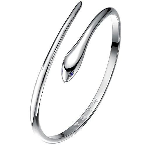 Jewever 925 Sterling Silver Snake Bangle Bracelet Women Jewelry Gift 20G