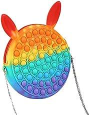 ruixin Fidget Bubble Schoudertas, popit sensorische speelgoedtas, siliconen push-blaas, schoudertas, modieus, regenboog, stressverminderend, anti-angst, speelgoed, handtas voor kinderen