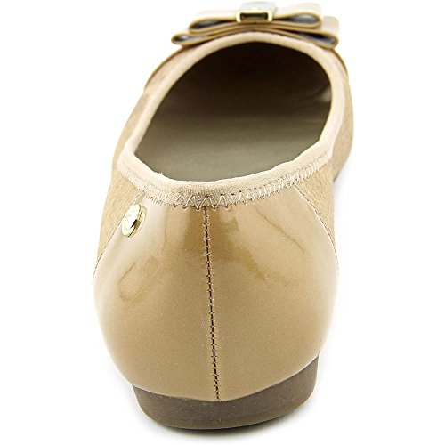 Anne Klein Womens Aricia Cap Toe Ballet Flats, Tan, Size 9.0