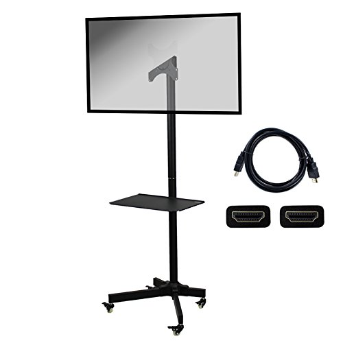 NavePoint Flat Panel TV Cart Height Adjustable 19'' to 37'' Mobile Stand w/Wheels HDMI by NavePoint