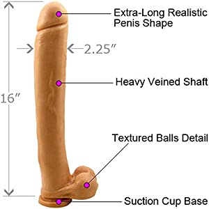 Sex Toys, 16 Inch Extreme Dong, Dildo Cock and Balls with Suction, Natural Flesh