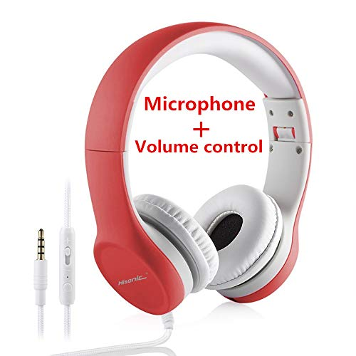 Kids Headphones, Hisonic Volume Limited headphones with microphone, foldable...
