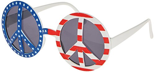 Greenbrier Patriotic Novelty Peace Sign Shape Sun Glasses (Red, White and Blue)