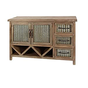 """Deco 79 47""""/33"""" Wood And Metal Cabinet, 47"""" x 33"""", Brown/Gray"""