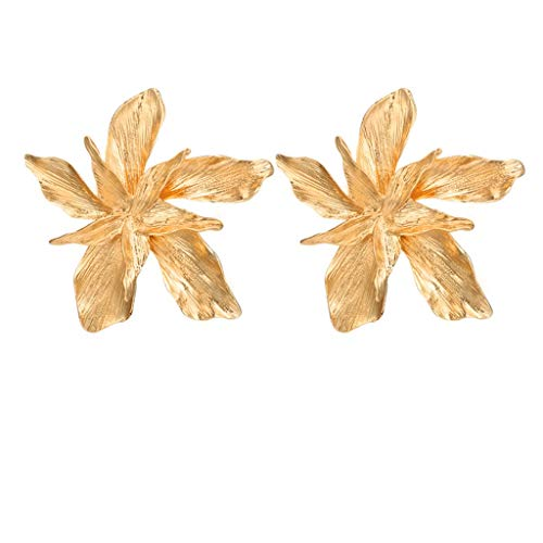(telaite Fashion Exaggerated Personality Alloy Flower Geometric Irregular Earrings(Gold))