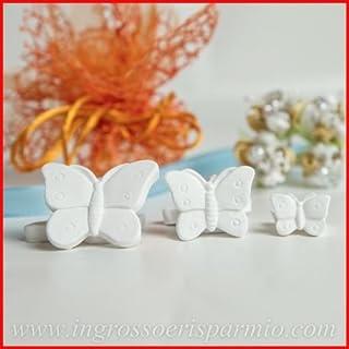 Gessetti bianchi a forma di farfalla con pois media, possono essere profumati con essenze(non incluse) - Bomboniere nascita,battesimo,comunione,cresima,matrimonio (kit 48 pz) ingrosso e risparmio