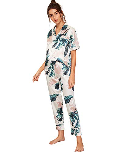 Floerns Women's Printed Pajamas Set Button Down Sleepwear Nightwear Soft Pj Lounge Sets White S