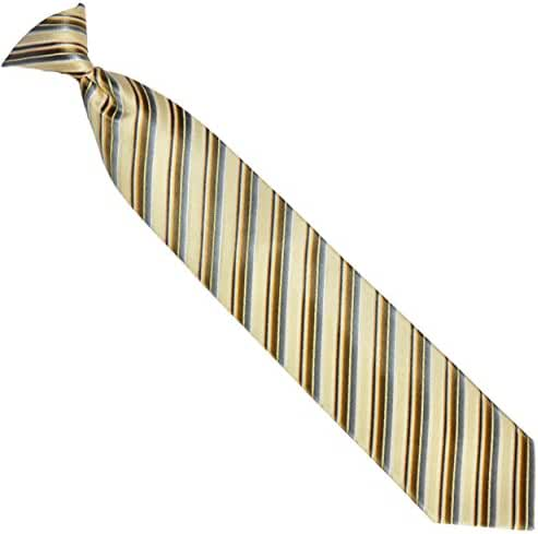 Men's Yellow Striped Clip-On Necktie