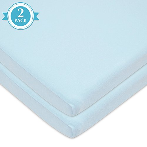 American Baby Company 2 Piece 100% Cotton Value Jersey Knit Fitted Bassinet Sheet, Blue