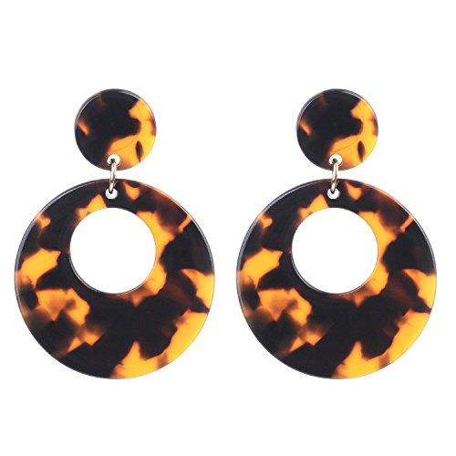 Acrylic Tortoise Shell Brown Resin Geometric Dangle Statement Earrings for Women - Tortoise Faux Earrings