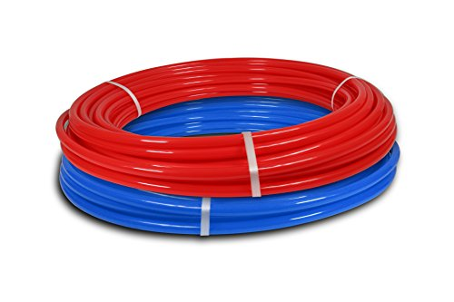 - Pexflow PXKT-RB10012 PEX Potable Water Tubing Combo Non-Barrier Pipe for Residential or Commercial, 1/2 Inch x 100 Feet (1 Red + 1 Blue)