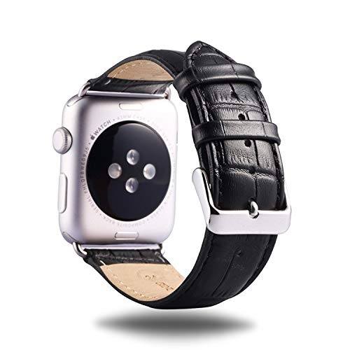 Premium Leather Watch Strap Black 38mm/40mm Replacement Watch Strap with Comfortable Durable Stainless Metal Clasp Classic Buckle Wrist Watch Strap for Apple Watch by IDEAPLUS